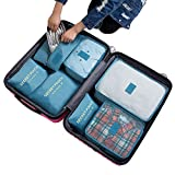 7Pcs Waterproof Travel Storage Bags Clothes Packing Cube Luggage Organizer Pouch (Grey blue)