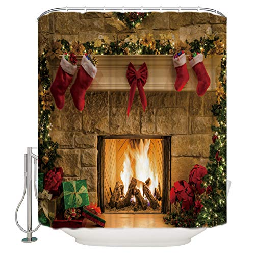 HEARTPAIN Christmas Themed Fireplace Christmas Shocks Gifts Warm Waterproof Fabric Polyester Bathroom Shower Curtain Size:54x78 Inch by HEARTPAIN