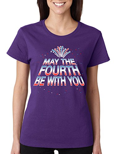 Allntrends Women's T Shirt May The Fourth Be with You Fun 4th of July Tee (2XL, Purple)