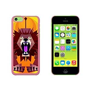 Geometric Lion Yellow Snap On Hard Protective For Iphone 5/5S Phone Case Cover - Pink