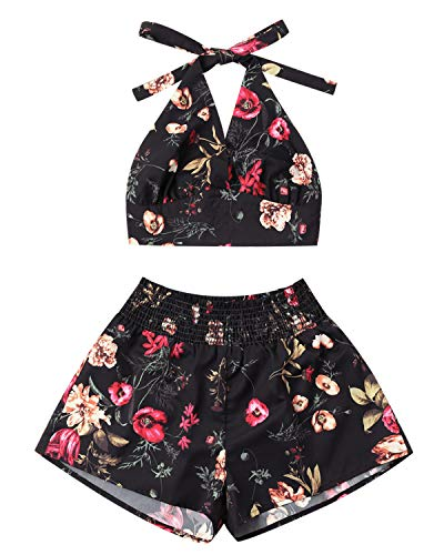 ZAFUL Women Floral Print Sleeveless Strap Crop Cami Top Two Piece Shorts Set Jumpsuit ()