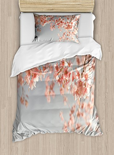 Ambesonne Peach Duvet Cover Set Twin Size, Japanese Scenery Sakura Tree Cherry Blossom Nature Photography Coming of Spring, Decorative 2 Piece Bedding Set with 1 Pillow Sham, Bluegrey Coral by Ambesonne