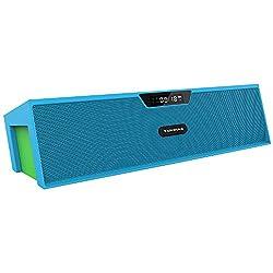 Sardine Bluetooth Speakers with FM Radio, Alarm Clock, Built-in Mic, LED Display, Powerful Sound Bluetooth Speaker for Apple iPhone, iPad, Samsung GALAXY Series, Micro SD Card & USB Input(Blue&Green)