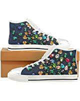 INTERESTPRINT Fashion Sneaker Painted Sparkling Rhinestones Women's Classic High Top Canvas Shoes (Model 017)