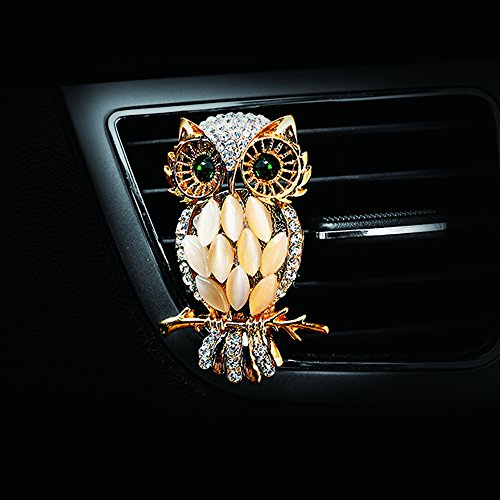 COGEEK Vintage Crystal Owls Outlet Car Perfume Clip Air Freshener Accessories (Ocean, Gold)