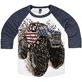 Shirts That Go Little Boys' Big USA Flag Monster Truck Raglan T-Shirt 2 Navy Sleeves