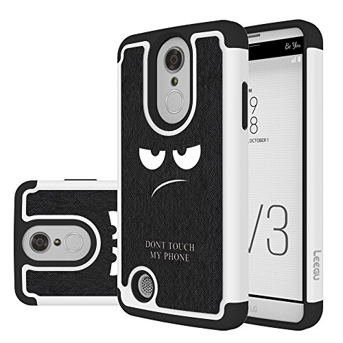 (LG Fortune Case, LG Phoenix 3 Case, LG Rebel 2 Case, LG Risio 2 Case, LEEGU [Shock Absorption] Dual Layer Heavy Duty Protective Silicone Plastic Cover Rugged Case for LG K4 2017 - Don't Touch My Phone)