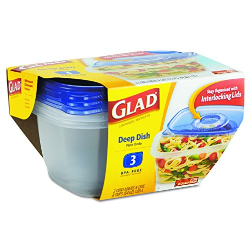 Glad 70045 GladWare Deep Dish Food Storage Containers, 64 oz, 3/Pk, 6 Pk/Ctn