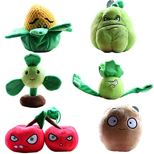 "Plants VS Zombies Plush Toy Set 6PCS Small Size Lot 15-20cm/6-8"" Tall"