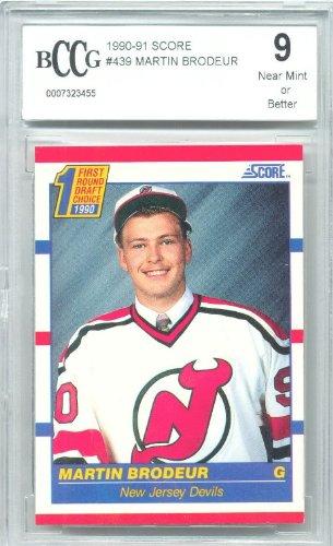 1990-91 Score Martin Brodeur Rookie Graded BCCG 9 - Martin Brodeur Memorabilia