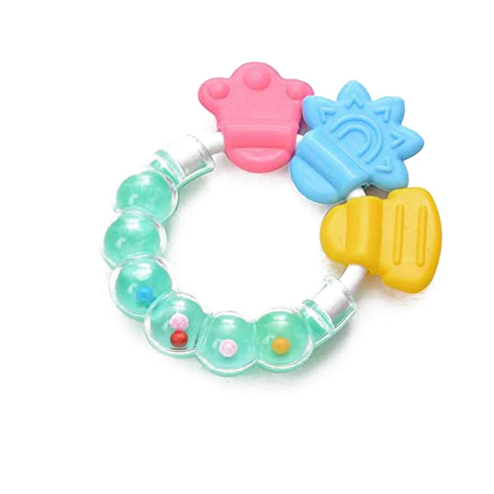 Toddler Rattle Baby Bite Teether Ring Silicone Infant Teething Toy Green Naisidier