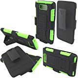 Fincibo (TM) Motorola Droid Ultra XT1080 MAXX XT1080M Hybrid Dual Layer Silicone + Hard Stand With Holster Protector Cover Case - Black/ Green