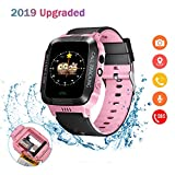 Eleoption Kids Smart Watches GPS Tracker Phone Call for Boys Girls Digital Wrist Watch, Sport Smart Watch, Touch Screen Cellphone Camera Anti-Lost SOS Learning Toy for Kids Gift (Black&Pink)