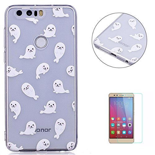 (Huawei Honor 8 Clear Case Cover KaseHom Cartoon White Sea Lions Print Design Ultra-Thin Shockproof Jelly Silicone Skin Shell for Huawei Honor 8 + [Free Screen Protector])