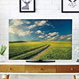 LCD TV Cover Multi Style,Nature,Grass Path Clouds Sky Serene Sun Spring Rural Country Panorama Art,Dark Blue Apple Green White,Customizable Design Compatible 37'' TV