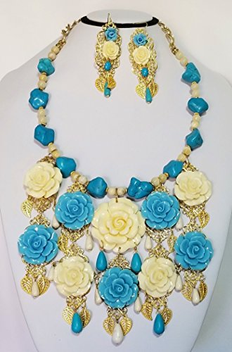 Carved Roses Floral Bib Necklace Earrings Bracelet Betsey Johnson Flowers One of a Kind