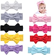 Globalsupplier Boutique Stretch Bows Ears Headband Set for Newborn Infant Baby Girl Kids Toddlers (9 PCS PACK S15)