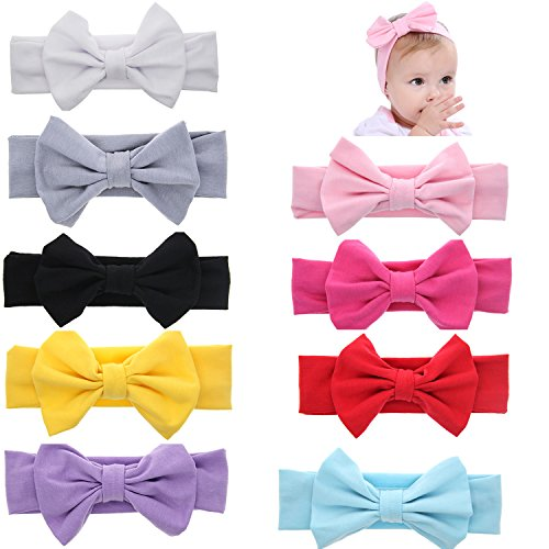 Globalsupplier Boutique Stretch Bows Ears Headband Set for Newborn Infant Baby Girl Kids Toddlers (9 PCS PACK S15) from Globalsupplier