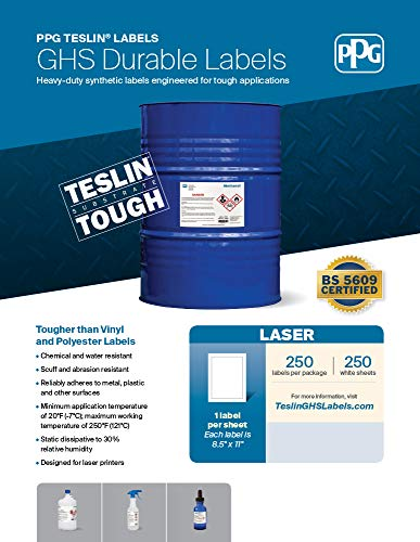 PPG Teslin 8011336 GHS Chemical Drum Labels for Laser Printers, Durable, BS5609 Certified, Waterproof, UV Resistant, 8.5