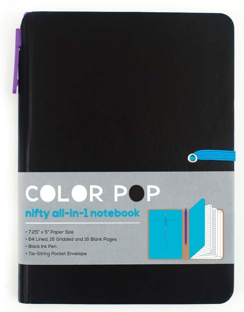 Color Pop Notebook with Pen- Black