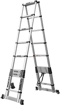 Escalera de techo telescópica, escaleras de aluminio de gran altura, profesionales, portátiles, en forma de A, oficinas ligeras, áticos, escaleras, carga al aire libre 150 kg (Size : 2.9m+2.9m): Amazon.es: Bricolaje y