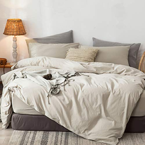 MooMee Duvet Cover Set 100% Washed Cotton Linen Like Soft Breathable Durable 3 Piece Home Bedding Set
