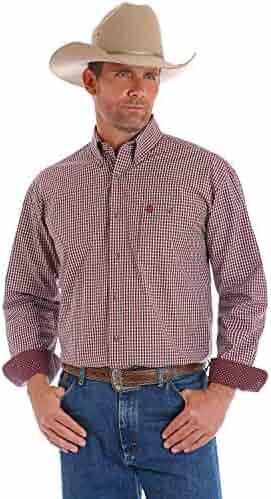 081851a7a7b Wrangler Men s George Strait by Wine Plaid Long Sleeve Western Shirt