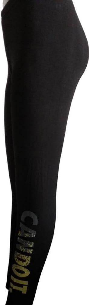 Mujer Leggings ronamick Mujer Leggings fina Medio cintura el/ástico Yoga Fitness Deporte Capri pantalones Negro M poli/éster