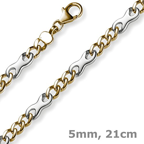 5 Mm couleur phantasiekette bracelet en or jaune 585 & or - 21 cm