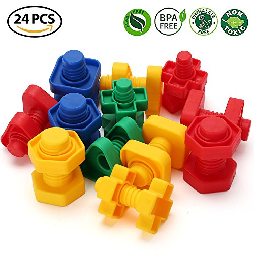 Jumbo Nuts and Bolts Toys for Toddler Kids Girls Boy 1, 2, 3, 4, 5 Years Old, 24PCS, LotFancy Fine Motor Matching Toys with Storage Case for Preschoolers Montessori Education (2 The Bolts)