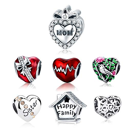BAMOER 925 Sterling Silver Love Heart Charms Beads Mom Charm Fit for Snake Chain Bracelet Necklace for Her