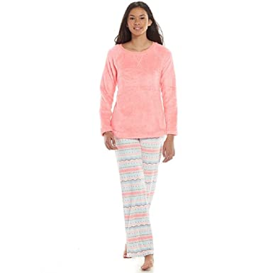 Juniors SO Pajamas Microfleece Top & Pants Pajama Gift Set (Large, Pink)