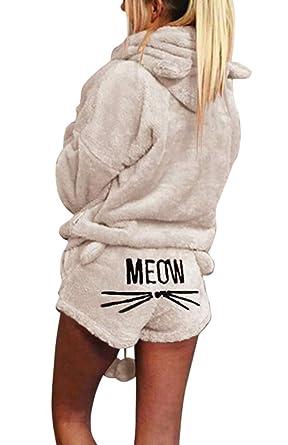 78abe62e3ceb Silver Basic Women s Winter Fleece Pajamas Suit Cute Meow Long Sleeve Hooded  Plus Size Sleepwear Set