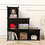 C&AHOME DIY Stair Shape Bookcase 6-Cube Storage Closet Organizer Toy Rack Shoe Case Shelf 3-tier Cube Cabinet (Black)