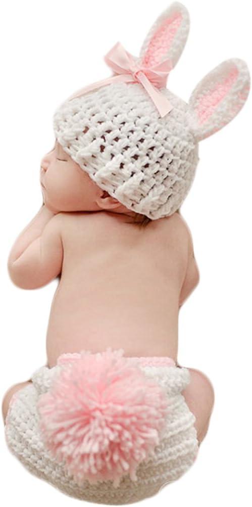 Mengonee Ropa de bebé de ganchillo lindo accesorios de la foto del bebé recién nacido traje de bebé accesorios de la fotografía Conjuntos de bebé de la flor del conejo conjunto