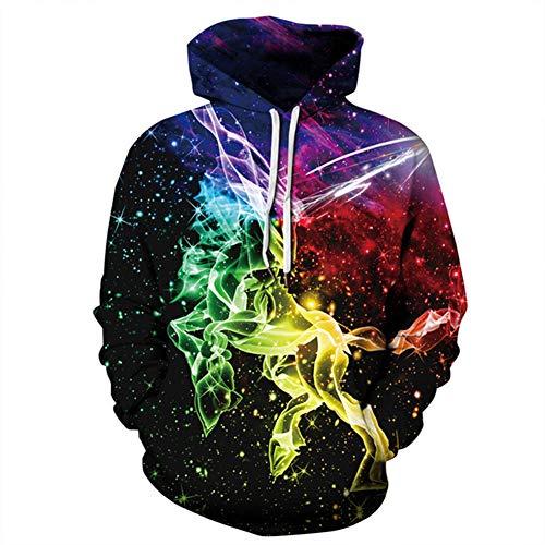 Ywfzzxs 3D Hoodies Hd 3D Printed Sweatshirts Long Sleeve Big Pockets Pullover Unisex Dream Unicorn XL