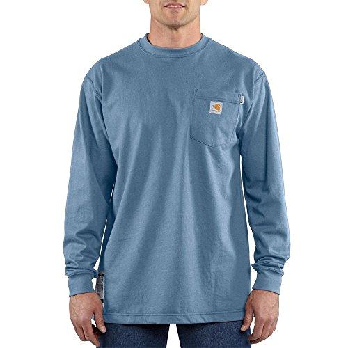 Carhartt Flame Resistant L/S T-Shirt, Medium Blue, X-Large Tall