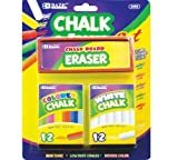 2 Pack - BAZIC 12 Color and 12 White Chalk with Eraser Sets, Assorted (Office Product)