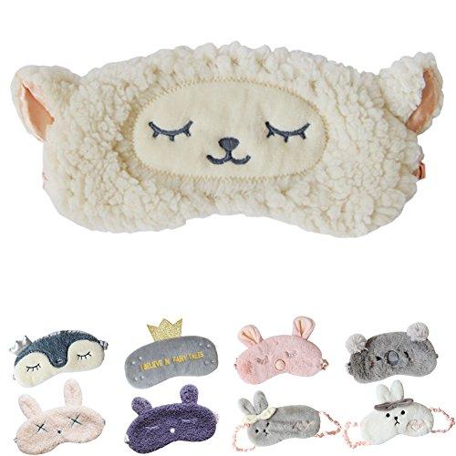 Adult Sheep Mask (Cute Sleeping Eye Mask Plush Blindfold Travel Sleep Masks Super Soft Eye Cover for Kids Girls and Adult)
