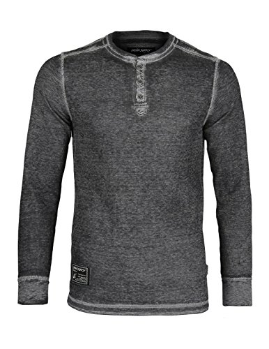 ZIMEGO Men's Casual Long Sleeve Lightweight Waffle Thermal Henley