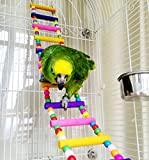 Wood Climbing Ladder Toy for Bird Parrot Budgies Conure Parakeet Cockatiel Macaw African Greys Cockatoo Amazon Rat Gerbils Mice Chinchilla Guinea Pig Squirrel Cage Perch