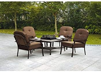 Mainstays Wentworth 5-Piece Patio Conversation Set with Fire Pit