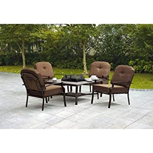 5 Piece Patio Conversation Set With Fire Pit   Set Includes 1 Table And 4  Chairs Made With Steel Frames In Dark Brown Finish