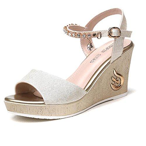 Summer color For Sandals Eu36 Women 5 Shoes Haizhen Size Black Dress In Cm cn35 White Heel 8 Pu 3 uk3 15 Wedge Women's Gold Gold Slippers Spring nHx0qw5