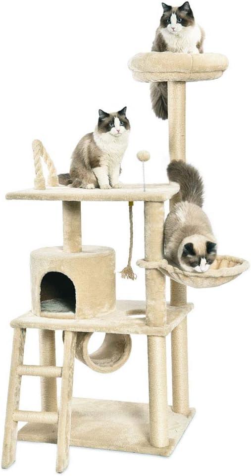 AmazonBasics - Árbol con varios niveles, cerramiento, túnel y plataforma para gatos, 61x152,5x48,3 cm, beige: Amazon.es: Productos para mascotas