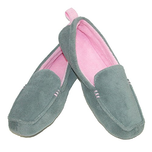 Dearfoams Womens Microfiber Terry Close Toe Two-Tone Moccasin Slippers Shale Grey fyT4VGVw2