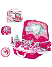 Deardeer Kids Pretend Play Makeup Set with Mirror, Hairdryer, Comb and Accessories with Protable Box