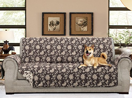 "- American Home Reversible Slipcover Furniture Protector with Removable Elastic Strap - Protection from Soils, Spills, Stains and Pets - Carrie Toile (Sofa (124"" x 70""), Chocolate)"