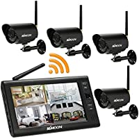 KKmoon Waterproof 2.4GHz Wireless 4CH DVR Security System Kit 7 Inches TFT Digital Audio Video Baby Monitor Motion Detection with IR Night Vision Camera Support 32G Micro SD Card