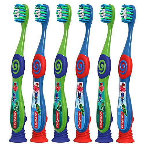Colgate PJ Masks Toothbrush for Toddlers & Little Children with Suction Cup, Kids 2-5 Years Old, Extra Soft, Pack of 6 (Best Toothbrush For 3 Year Old)